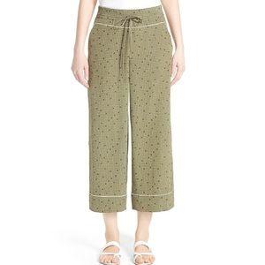 NWT Lafayette 148 Silk Wide Leg Crop Pant Vine Dot